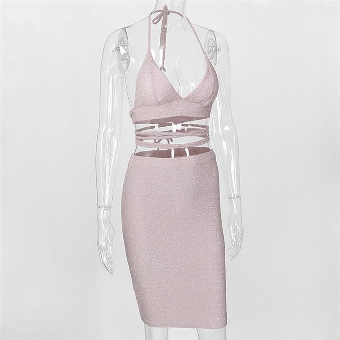 2018 Halter V Boyun Kırpma Üst Iki Parçalı Set Kadın Elbiseler Spagetti Kayışı Seksi Parti Elbise Sparkly Bandaj Bodycon Elbise