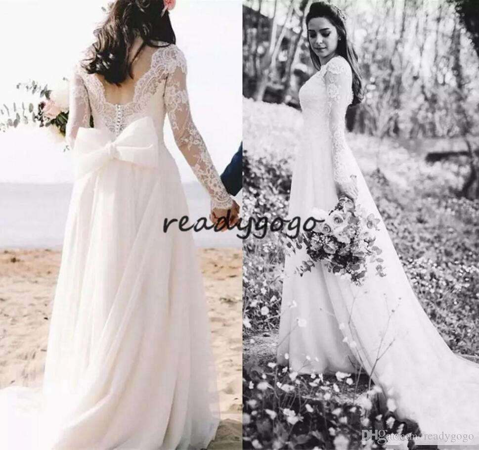 Discount Romantic White Lace Top Wedding Dresses Long Sleeves Backless Bridal Gowns With Bow Sweep Train A Line Dress Vintage: White Lace Backless Wedding Dress At Reisefeber.org