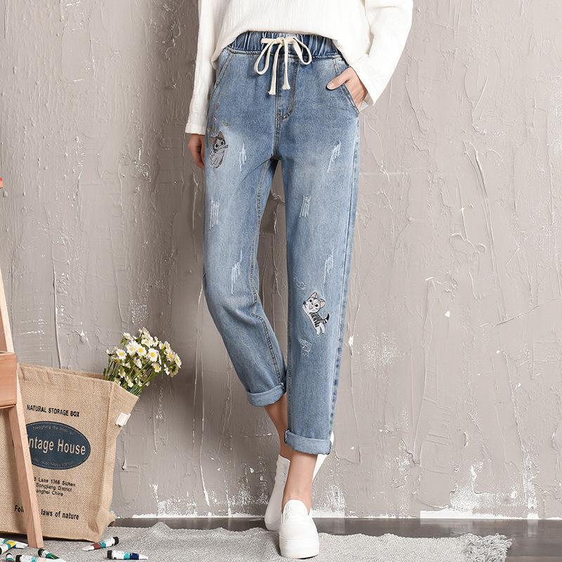 3ff8eb712dd 2019 Plus Size Embroidery Elastic Waist Jeans Women Boyfriend Baggy  Drawstring Denim Harem Pants Vintage Ankle Length Trousers 8826 From  Yujian18
