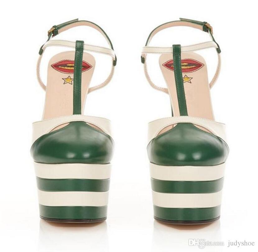 الصيف عالية الكعب الصنادل المرأة مسامير مسنبل رصع حزام حزام منصة واحدة تي أحذية للنساء المصارع سالتو ألتو zapatos دي موهير