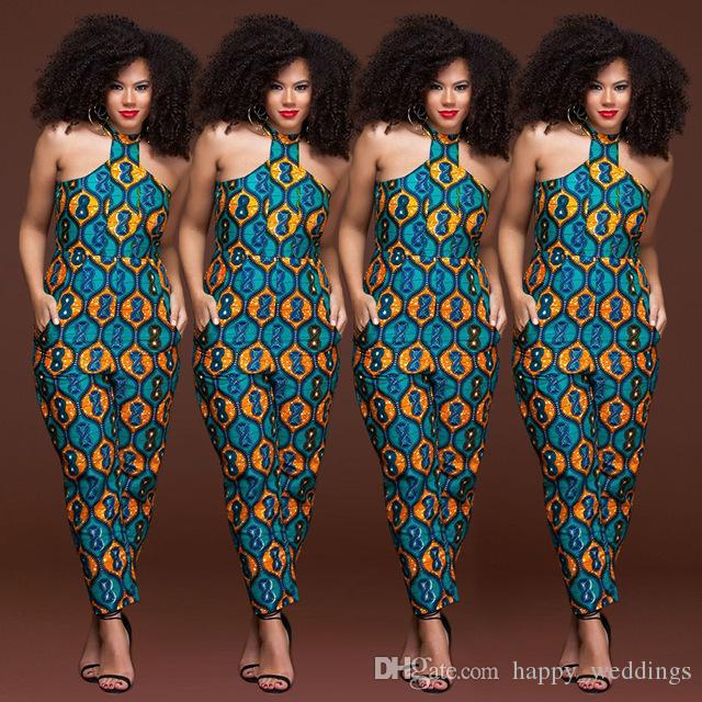 0d0af0ddc2c8f 2019 Sleeveless Strappy Dashiki African Print Jumpsuit Women Romper 2018  Summer Halter Sexy Off Shoulder Long Pant Outfits From Happy weddings