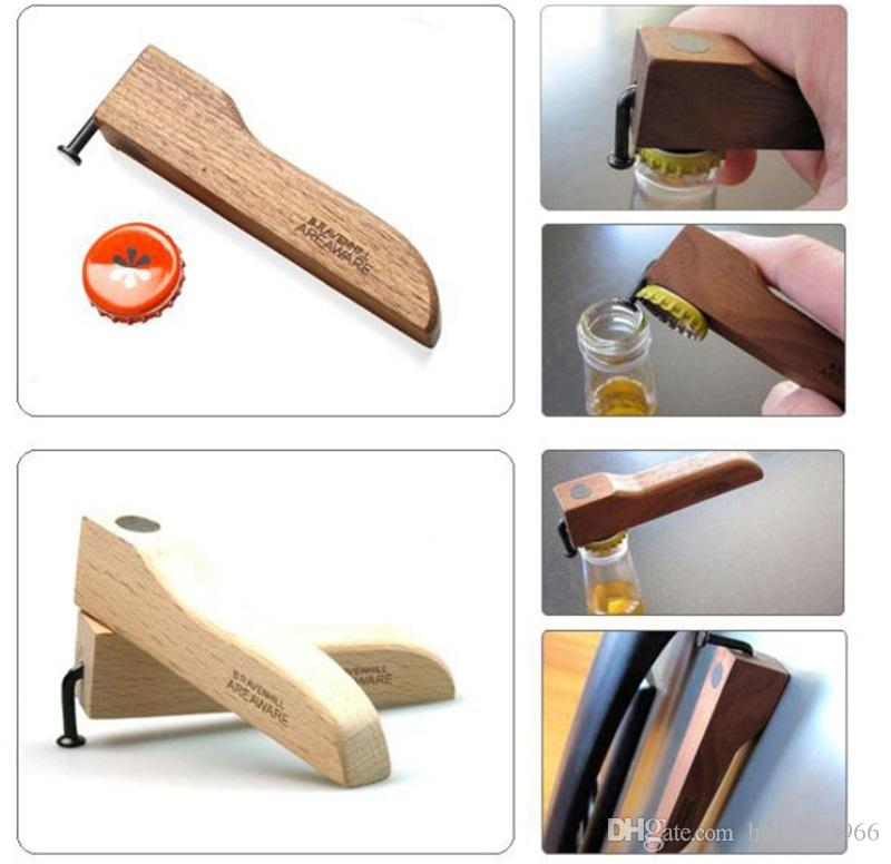 Nail Design Beer Bottle Opener With Magnet Wooden Handle Coke Juice Beverages Openers For Home Kitchen Bar Tools Party Gifts 4 6mh