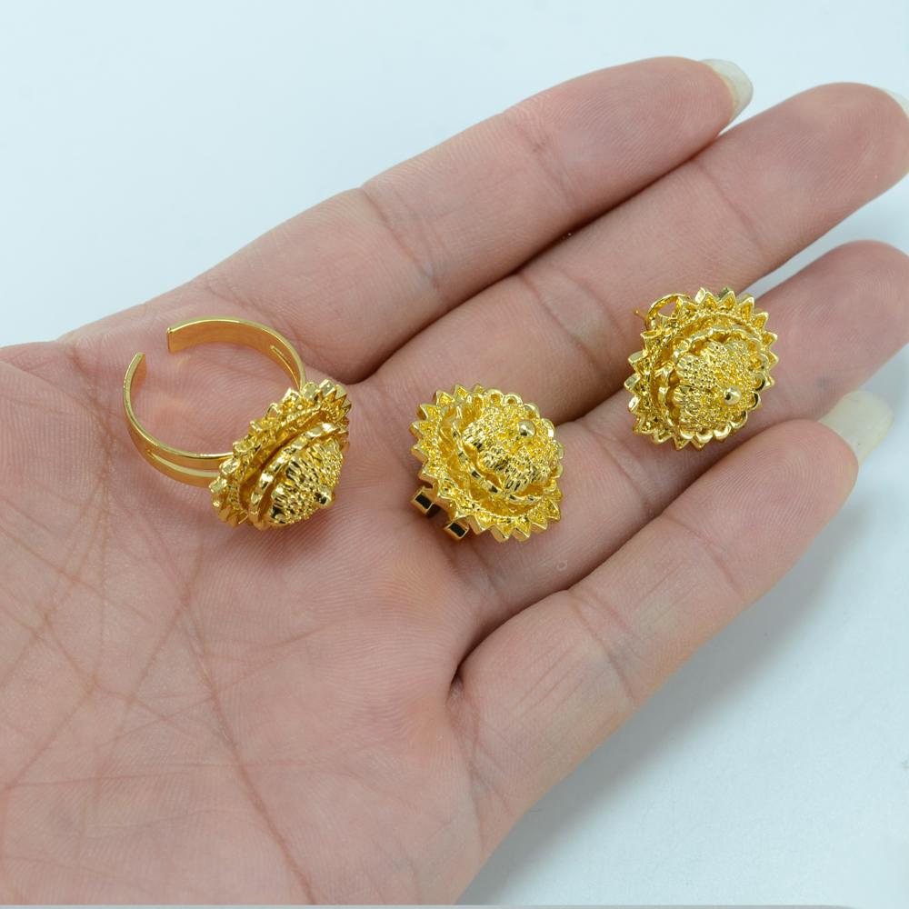 Anniyo Habesha комплект ювелирных изделий девушка ожерелье / волосы шт / лоб / серьги / кольцо / браслет золотой цвет дети эфиопский / эритрейский наборы 000415