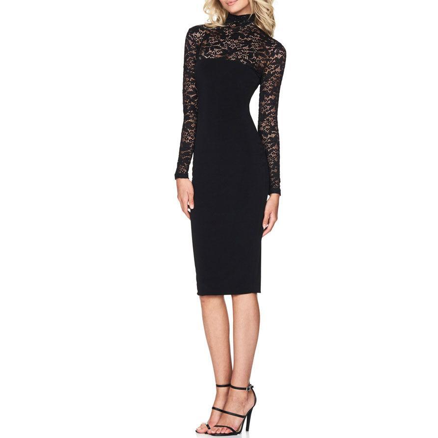 82de675ddc24 Elegant Lace Turtleneck Women Midi Dress 2018 Spring Long Sleeve Bodycon  Autumn Office Work Ladies Sheath Dresses M0673 Knee Length Dresses Vintage  Dress ...