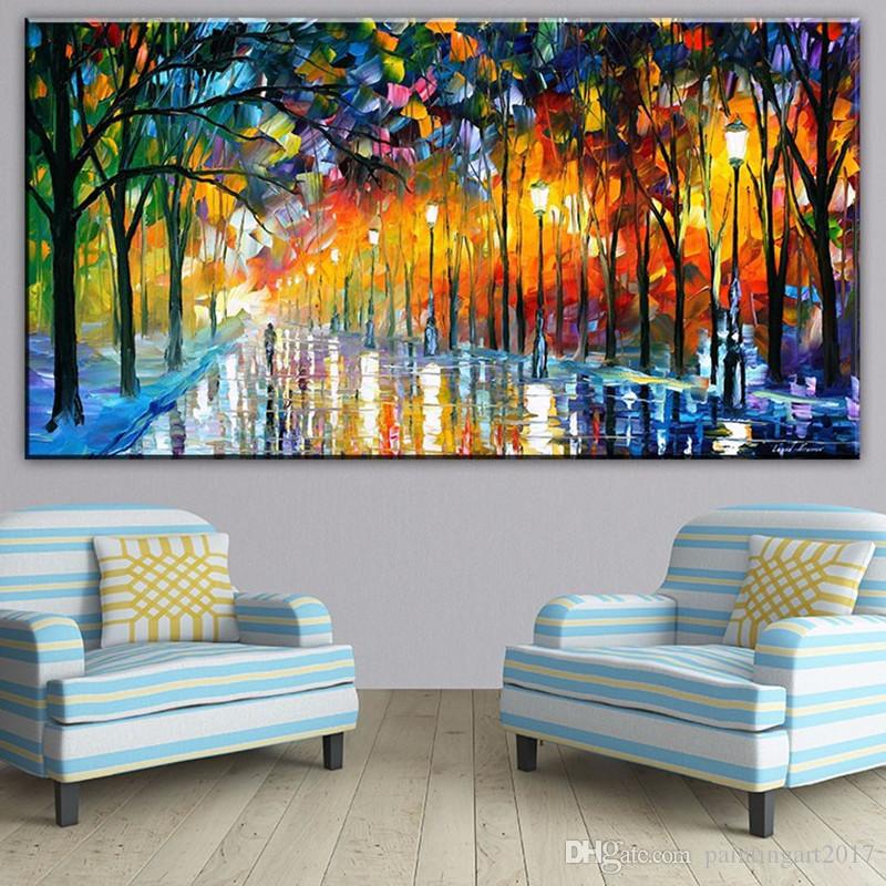Large Knife Handpainted Landscape Paintings Modern Abstract Home Decor Wall Art Picture Streetscape Oil Painting On Canvas