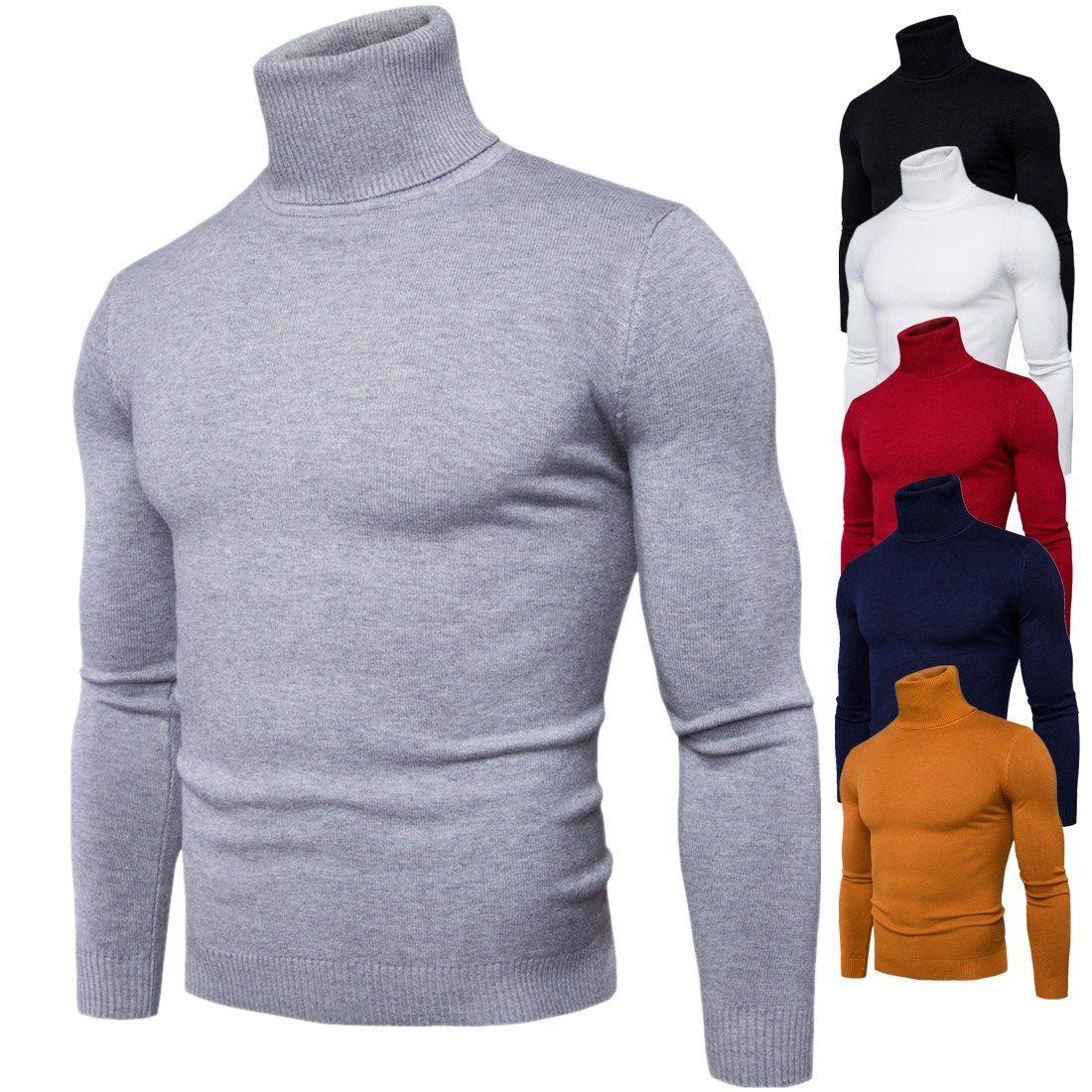 Pull Pull Hommes 2018 Mâle Marque Casual Mince Chandails Hommes Haute Qualité Solide Couleur Couverture Col Roulé Hommes Chandail