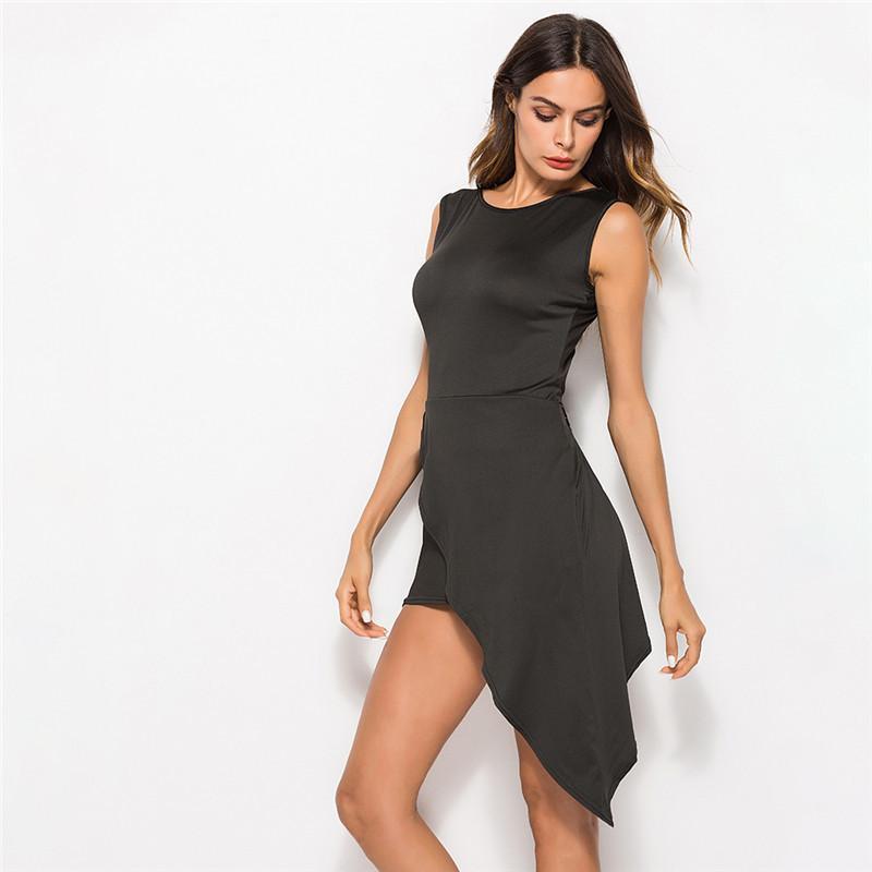 8fcccb2d052a Women Dress 2019 New Arrival LSleeveless O Neck Casual Elegant Irregular  Design Dress For Lady Vestidos Mujer Black Womens Knit Dress Summer Dress  Boutique ...
