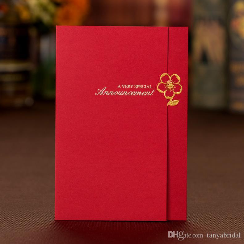 Lacivert / Kırmızı / Kahverengi Basit Düğün Davetiyeleri Katlanmış Doğum Günü / Düğün / Parti Malzemeleri 3 Renkler Ile Küçük Çiçekler Kartları Davetiyeleri