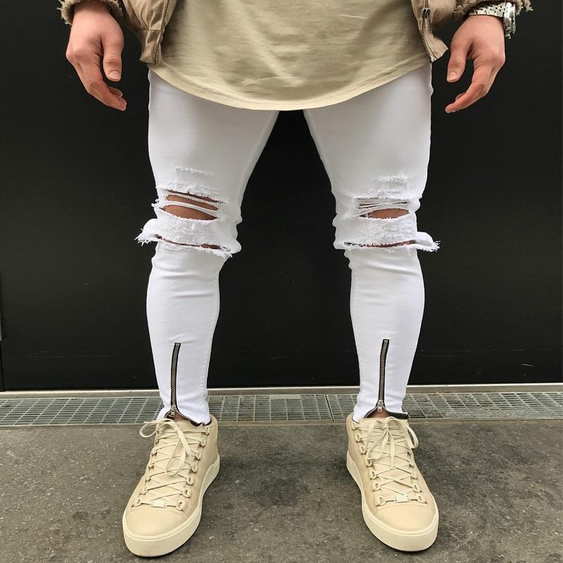 1c48e0bc957ea Compre Pantalones Vaqueros Rotos Blancos Hombres Con Agujeros Super Flaco  Famosa Marca De Diseñador Slim Fit Pantalones Vaqueros Destruidos  Pantalones De ...