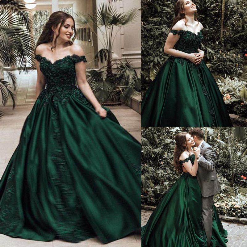 d048a14522d Off The Shoulder Beaded Ball Gown Prom Dresses 2018 Satin Floor Length  Sleeveless Puffy Dark Green Long Prom Dress MP225 Goth Prom Dresses Long  Gowns Online ...