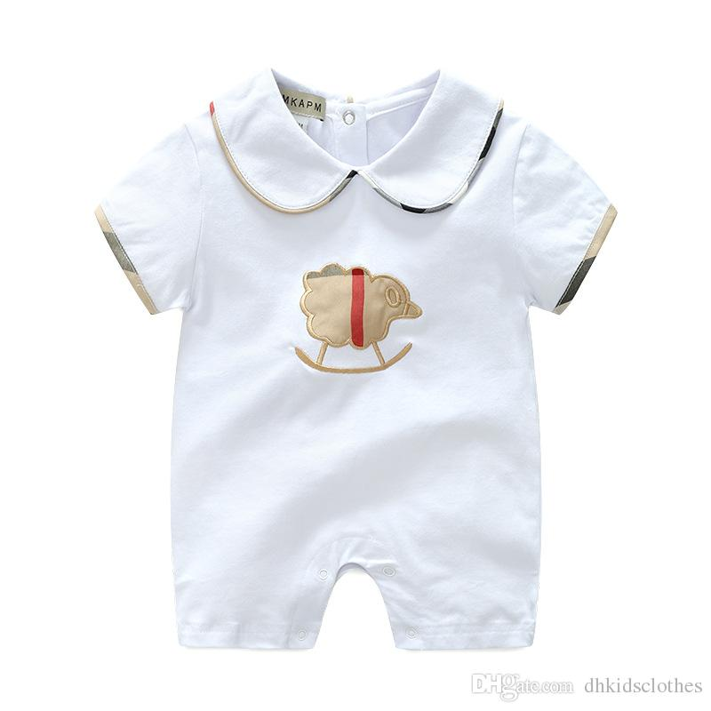 Summer Newborn Baby Boy Romper Short Sleeve Jumpsuit Cartoon Printed Baby Rompers Overalls Baby Clothes Costume