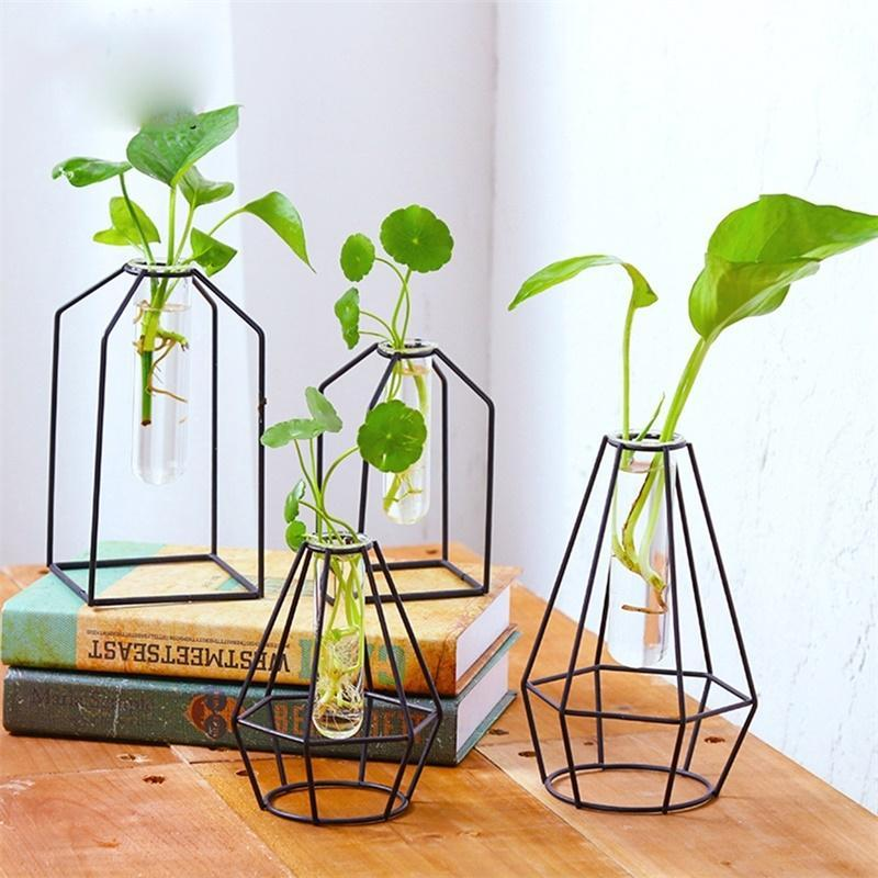 Adeeing Transparent Glass Tube Vase With Iron Stand For Water