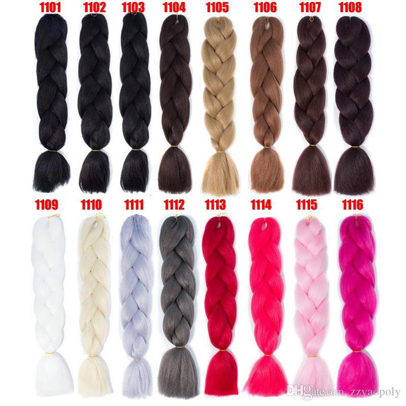 Toptan Fiyat Örgü Saç 1 adet 24 inç Jumbo Örgüler 100g / adet Sentetik Tek Renk Elyaf Saç Uzantıları