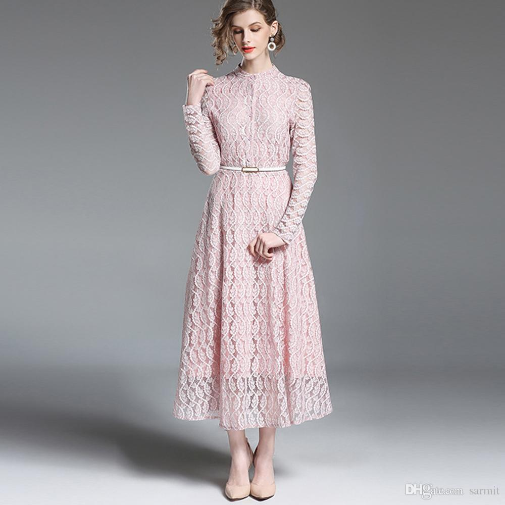 1e188c4b73d 2019 Elegant Lace Maxi Dress Long Sleeve Long Dress Women Summer 2018 Pink  Apricot Colors F2944 Formal Dress Women Elegant Full Lace From Sarmit