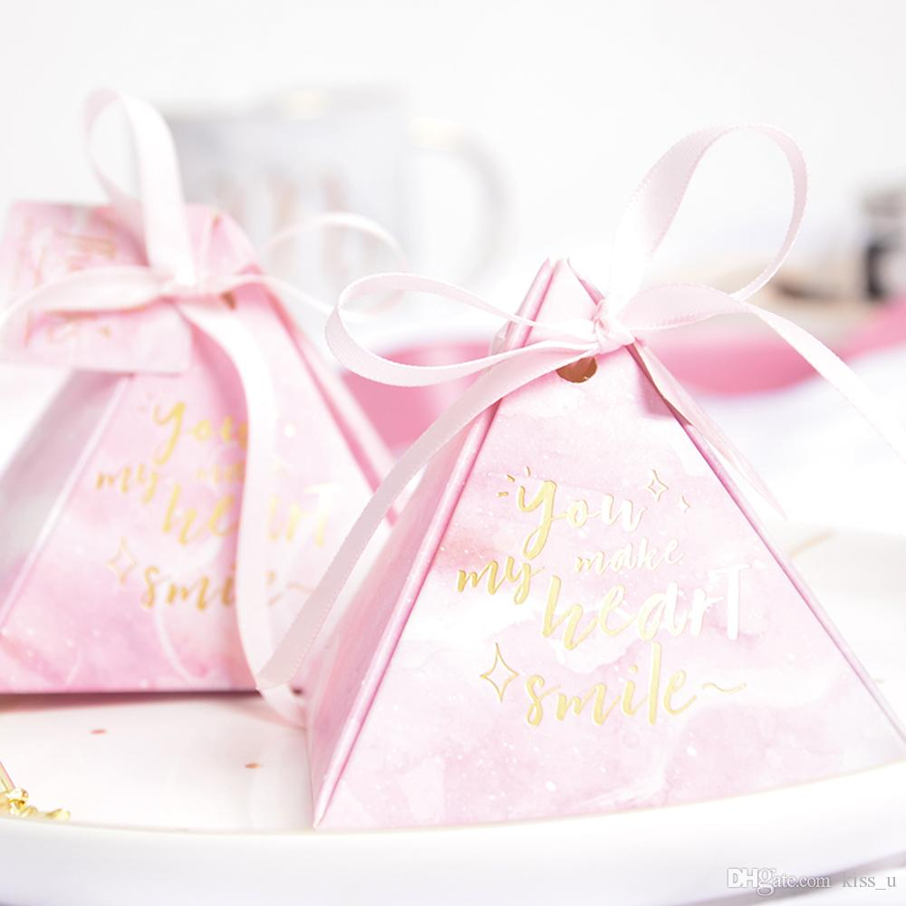 2018 Blue Pink Paper Box DIY Wedding Gift Favor Boxes Party Candy ...