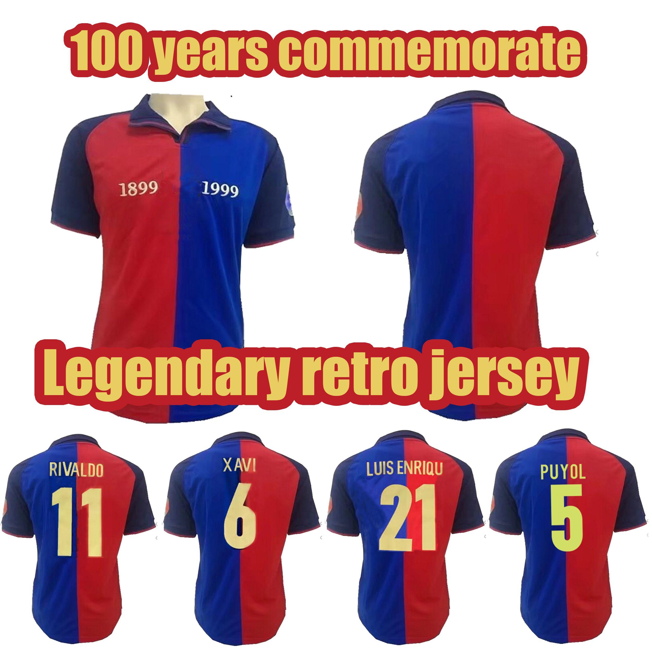 128c60e3e19 2019 Legendary Retro 1899 1999 Soccer Jerseys Retro 1899 1999 Guardiola  PUYOL Rivaldo XAVI Football Shirts Top Quality Soccer Jerseys From  Bao3667183