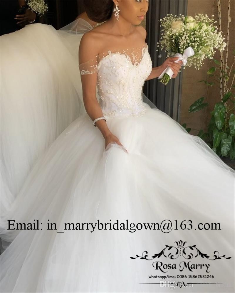 Bellanaija Nigeria Vestido de fiesta Vestidos de novia 2020 Más el tamaño de hombro Vestido de encaje Vintage Black Girls African Arabic Wedding Wedding