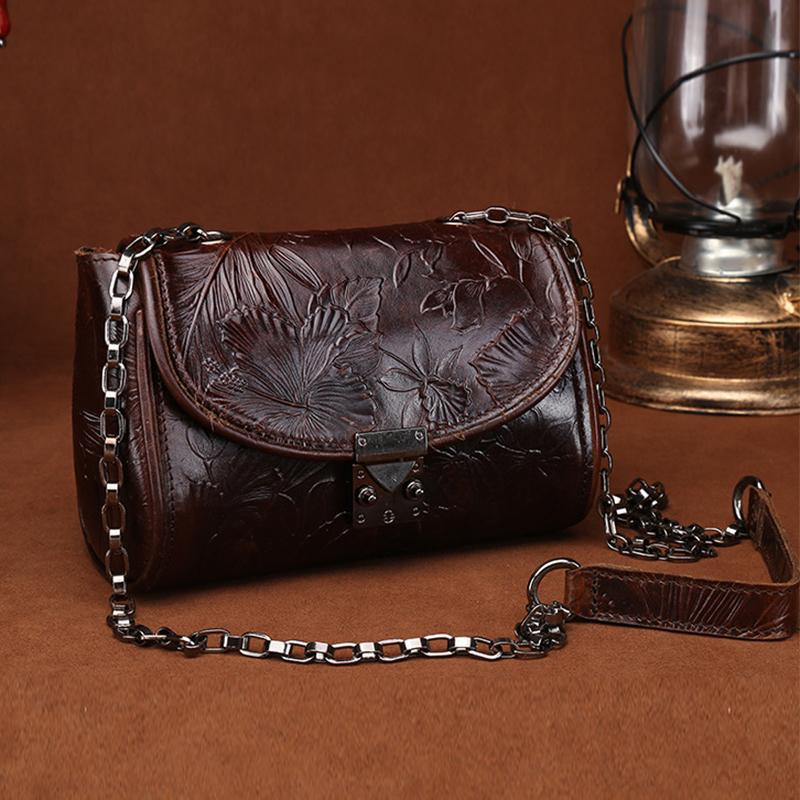 bf66080419 Famous Brand Oil Wax Cowhide Women Small Shoulder Bag Vintage National Style  Embossed Genuine Leather Crossbody Messenger Bags S921 Backpacks Handbags  From ...