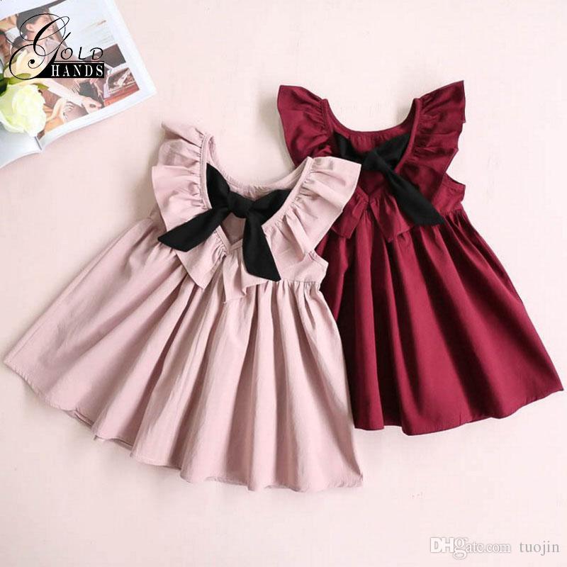 여자 드레스 공주 의류 Falbala 칼라로 돌아 가기 Bowknot 단색 귀여운 드레스 아기 소녀 여름 핑크와 레드 미니 드레스