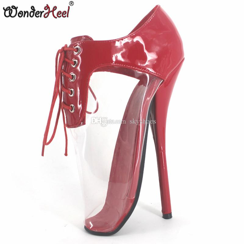 e1095abba4fe Wonderheel Extreme High Heel 18cm Heel Red Ballet Shoes With Transparent  PVC Lacing Sexy Women Shoes Fashion Show Ballet Shoes Wedge Shoes Boots  Online From ...