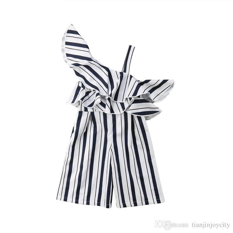 26c74e1bcaa1 2019 Fashion Summer Kids Girls Stripe Off Shoulder Ruffles Romper Playsuit  Jumpsuit Trousers Outfit Clothes 3 10Y From Tianjinjoycity