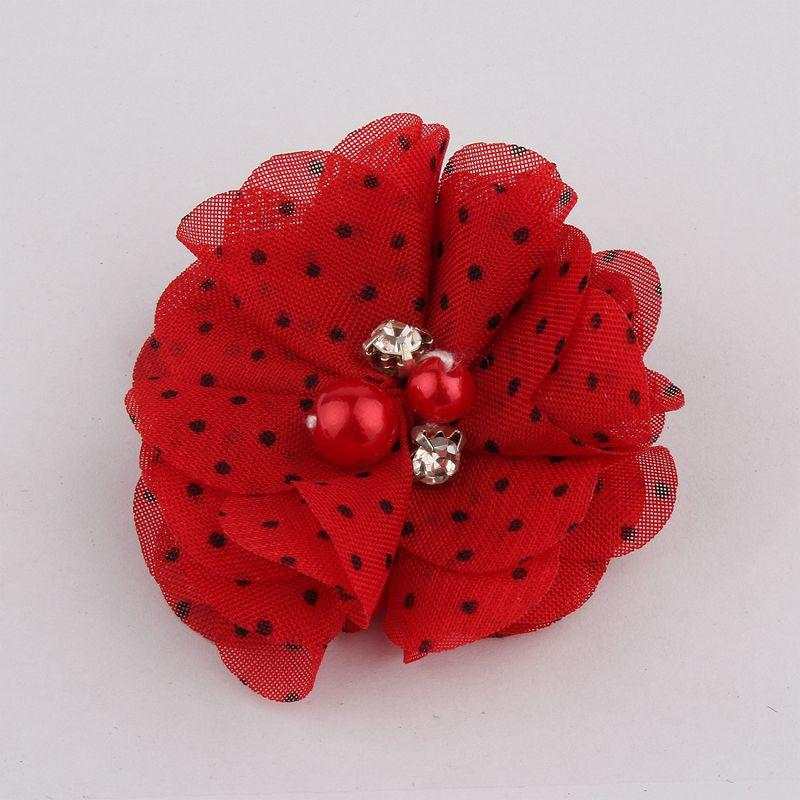 """2"""" Cute Chic Chiffon Flowers With Rhinestone Pearl Fabric Hair Flower With Clips For Girls Hair Accessories"""