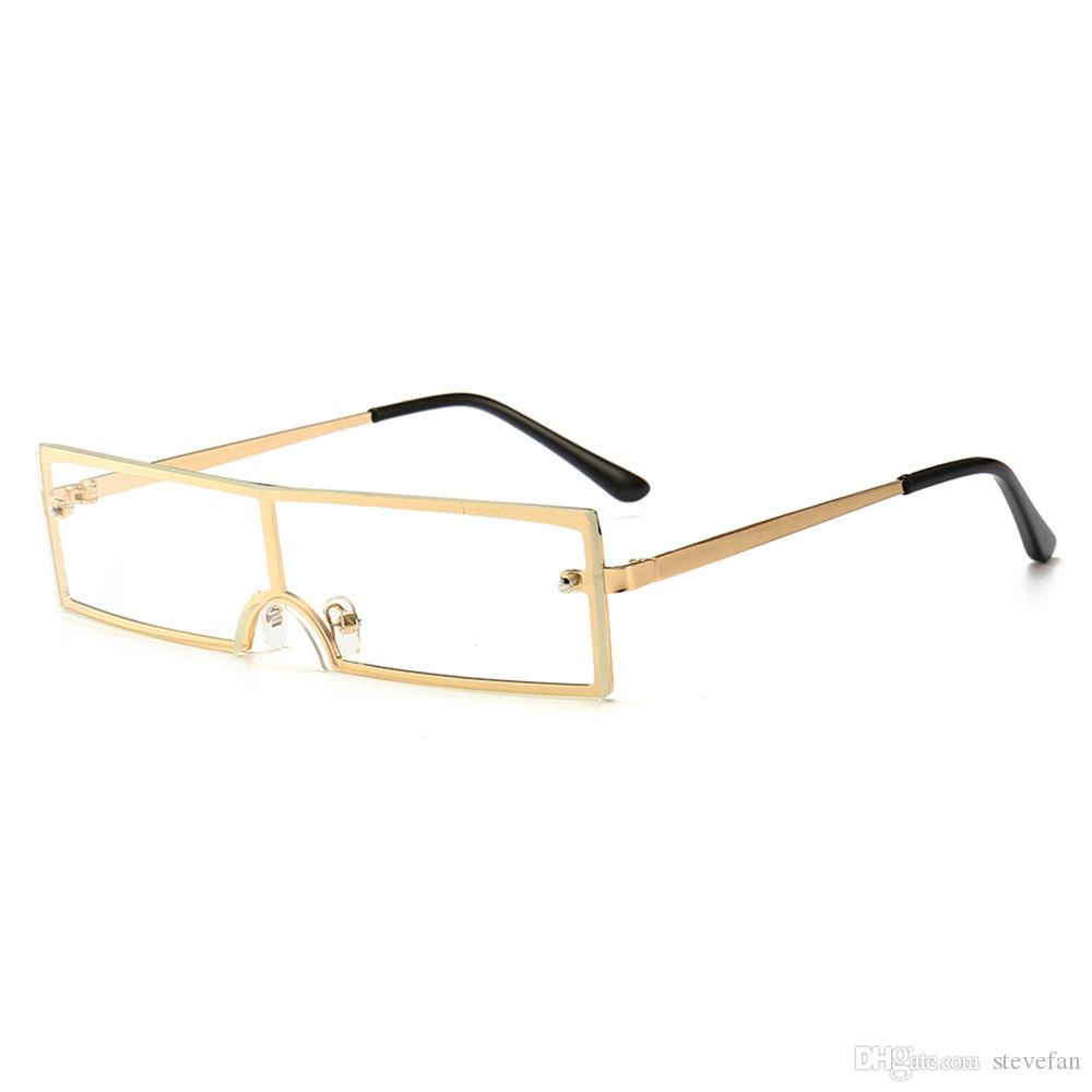2018 One Piece Glasses Frame For Men Rectangle Gold Metal 2019 ...
