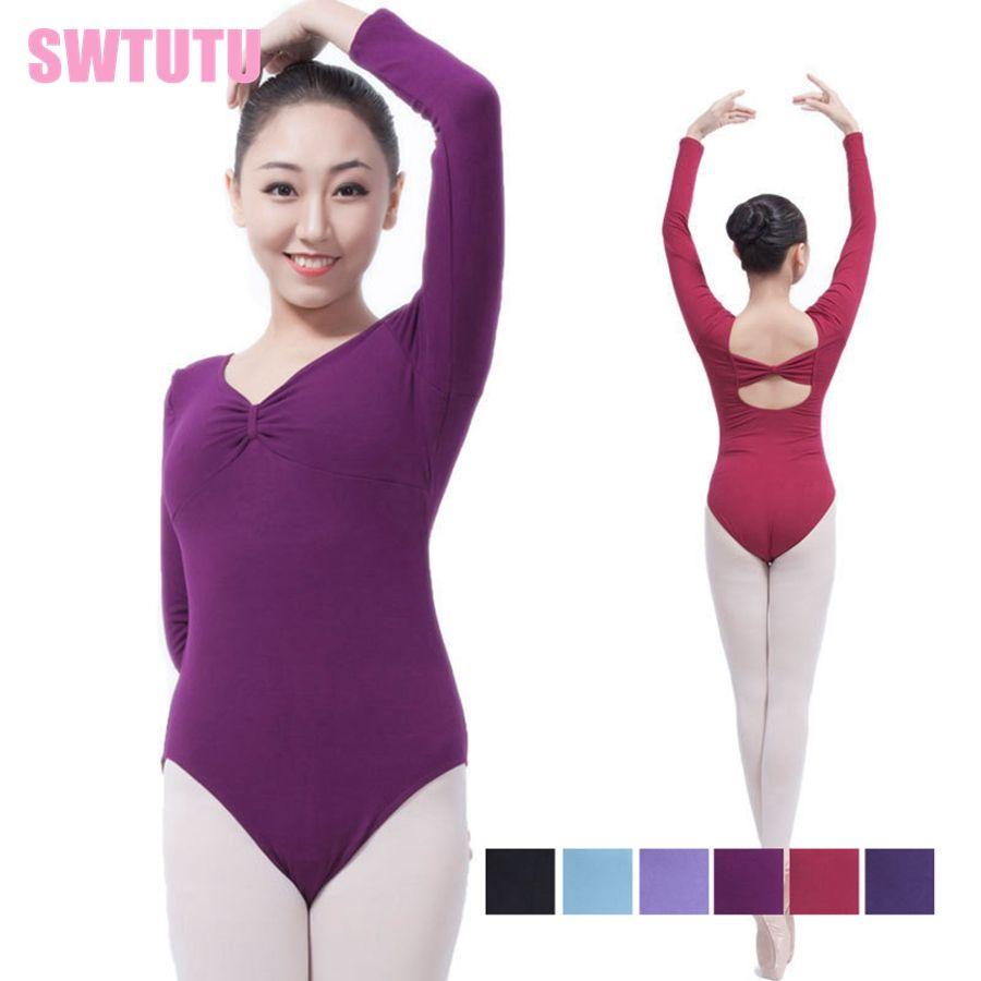 ddadcdfeb3eb6 2019 Basic Purple Ballet Leotard Long Sleeve Women Pinch Front ...
