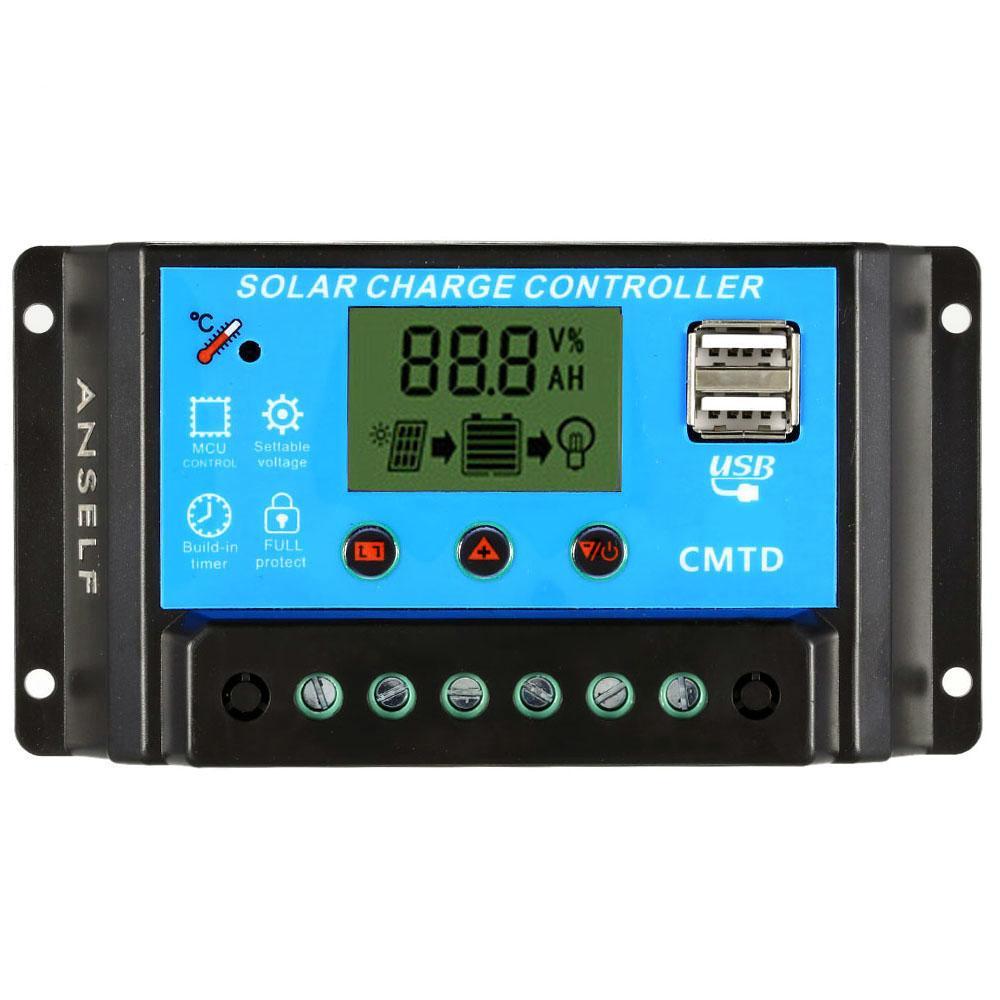Freeshipping 10A 12.6 V LCD солнечный контроллер заряда PWM зарядки регулятор для панели солнечных батарей литиевая батарея лампа защита от перегрузки