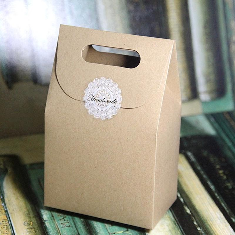 Free Shipping Gift Paper Box with Handle Party Favor Craft Candy Bakery  Cookie Biscuits Packaging Cardboard Boxes