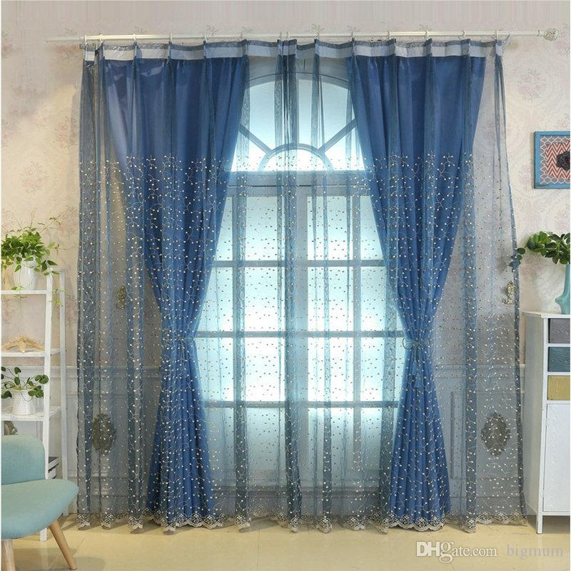 Luxury Embroidered Flowers Leaves Curtain For Window Living Room Kitchen Door Solid Color American Pastoral Style Curtains
