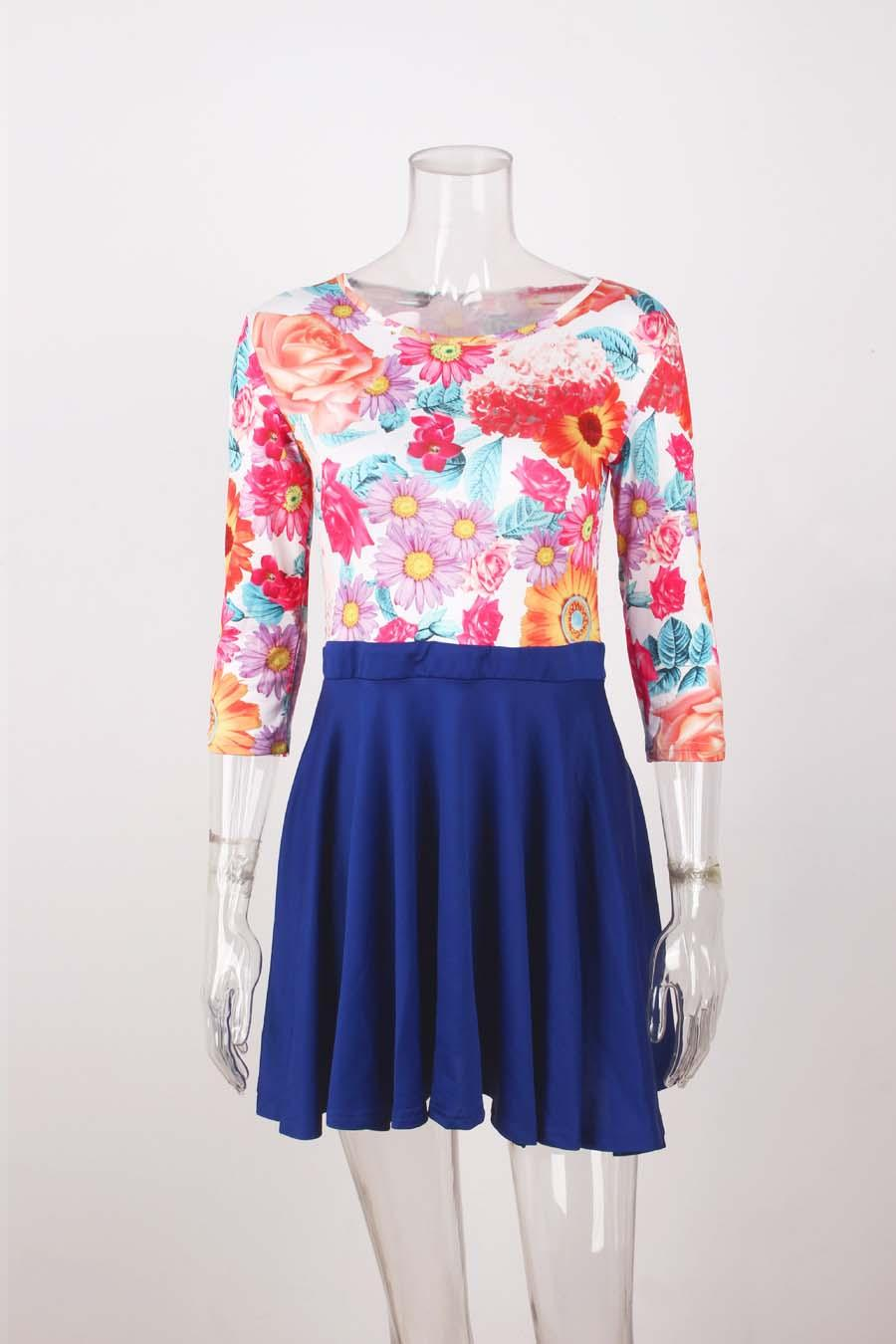 Women Flower Floral Print 3/4 Sleeve Skirt Dress Ladies Evening Party Mini Swing Skater Dress