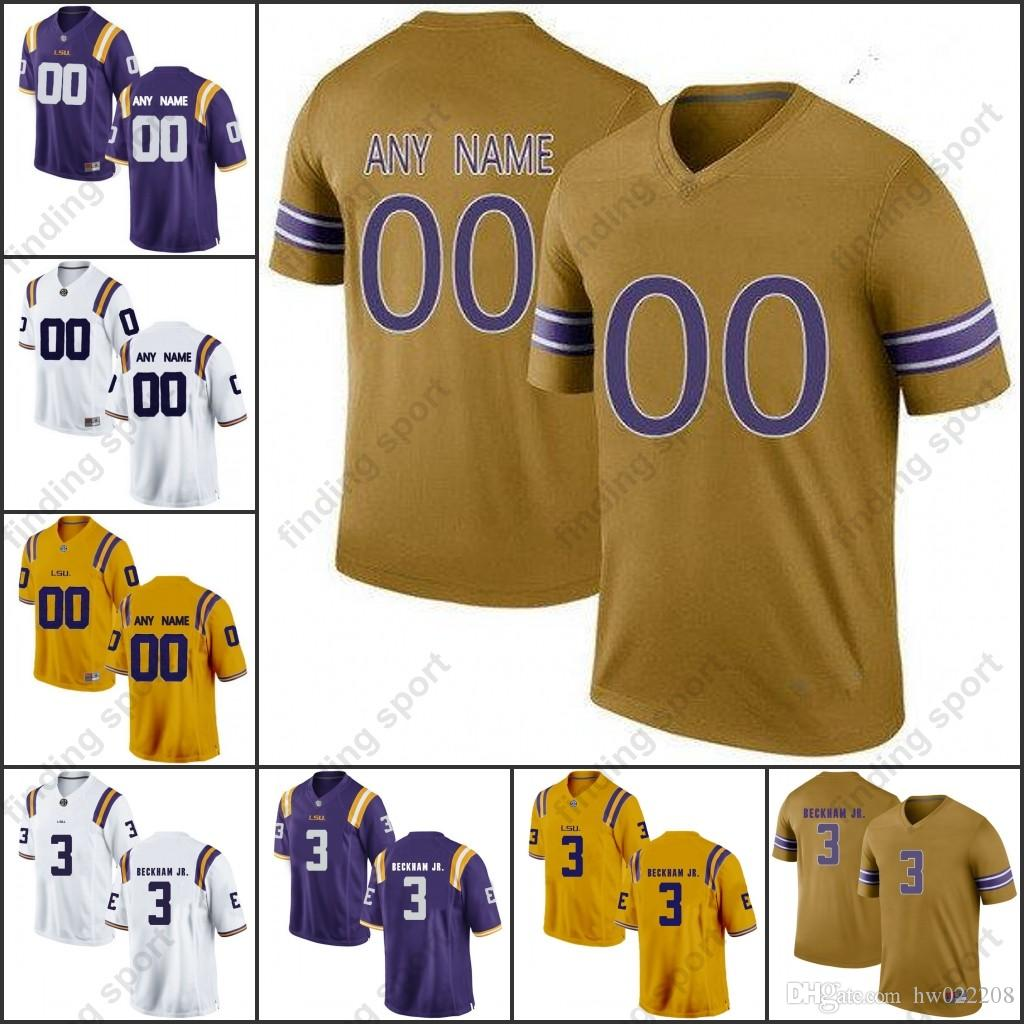 c3f2945952d Custom Ncaa LSU Tigers College Football Jerseys Any Name Number 3 Odell  Beckham Jr. 40 Devin White 5 Derrius Guice 7 Leonard Fournette Online with  ...