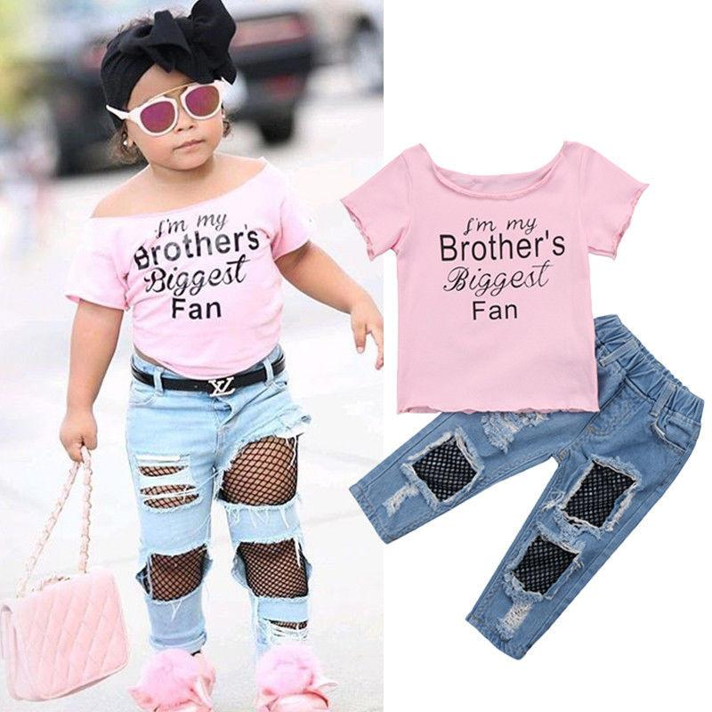 6f235487f759 2019 Summer Casual Kids Baby Girls Set Cotton T Shirt Tops+Fishnet Destroy Denim  Pants Children Jeans Clothes Outfits Sets Y1892707 From Shenping02