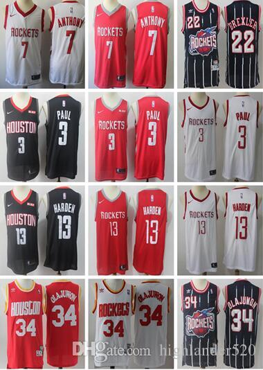 Cheap 2019 New Houston Rockets 13 James Harden 3 Chris Paul 7 Carmelo  Anthony 34 Hakeem Olajuwon 22 Clyde Drexler Basketball Jersey bd4fdffba