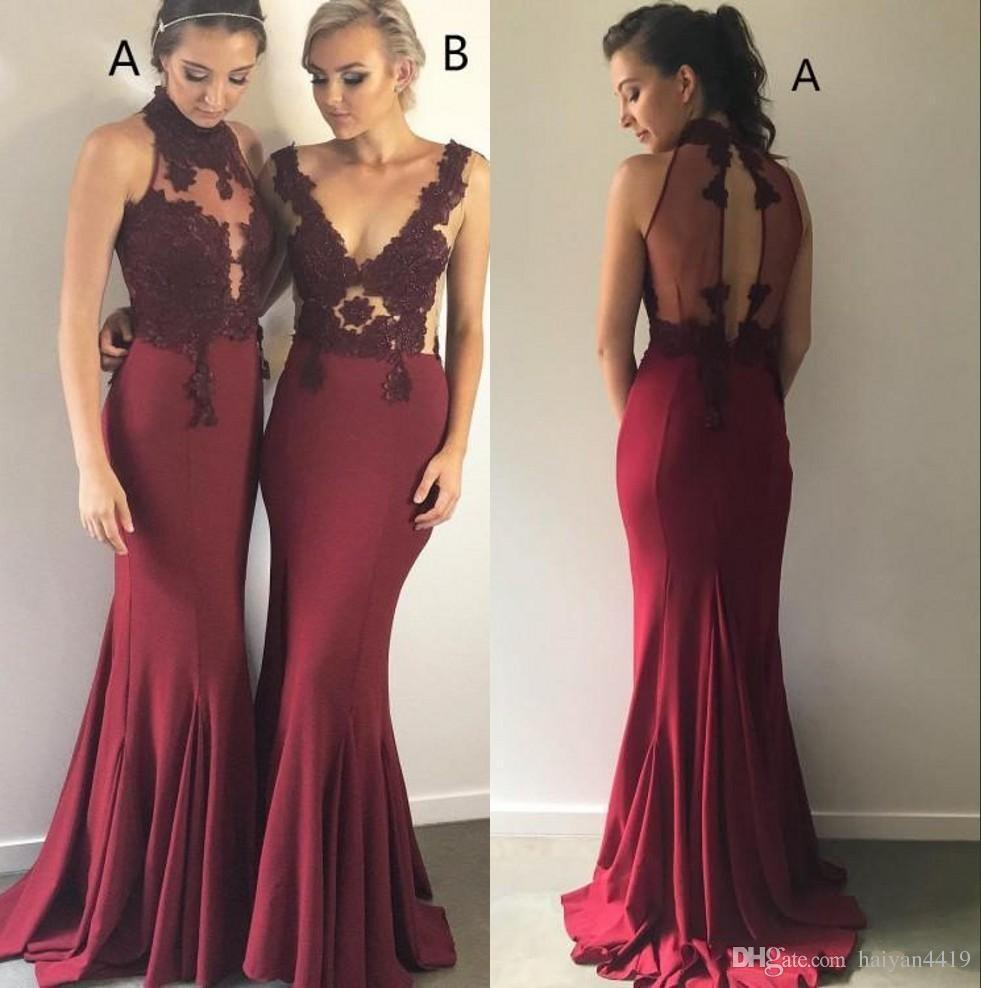 2018 Burgundy Long Bridesmaid Dresses High Neck Illusion Satin Lace  Appliques Sleeveless Wedding Guest Dress Plus Size Maid Of Honor Gowns  Girls Bridesmaid ... d1d22f592b6b