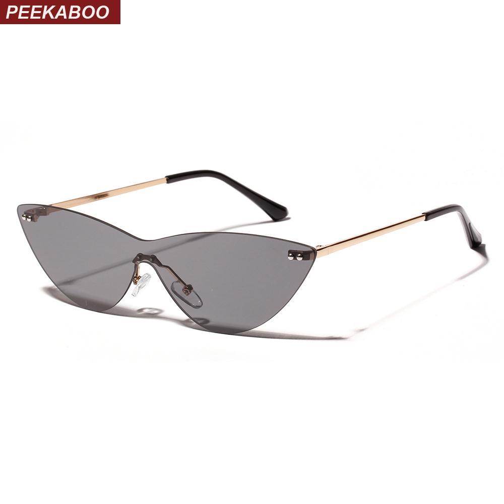 9e0344ac14 Compre Peekaboo Sin Aro Gafas De Sol Mujer Triángulo Lente Transparente  2019 Verano Cat Eye Gafas De Sol Para Mujeres Diseñador Uv400 Lente De Una  Pieza A ...