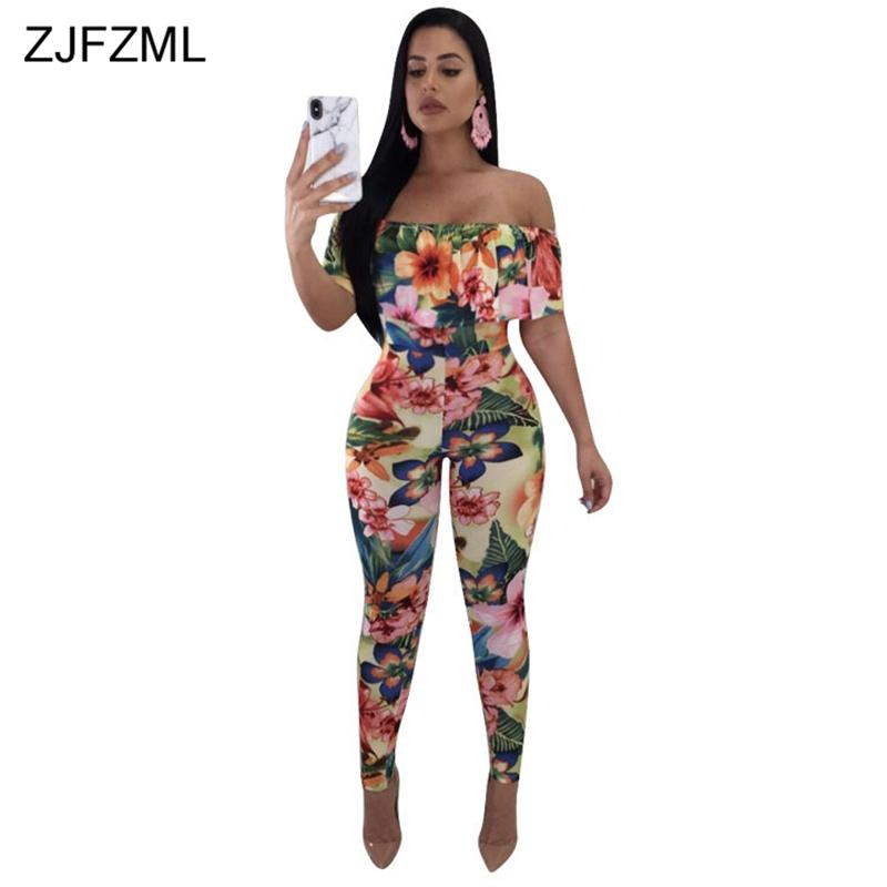 ZJFZML New Off The Shoulder Sexy Bodycon Jumpsuit Women Slash Neck Floral  Print Skinny Catsuit Summer Backless Party Club Romper Jumpsuits Cheap  Jumpsuits ... 2f1d98992e95