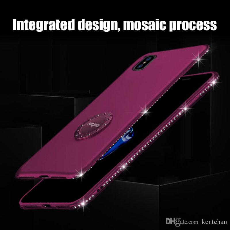 Frame diamond ring buckle bracket magnetic multi-purpose protective cover For iPhone X 7/8 7/8plus 6/6s cases