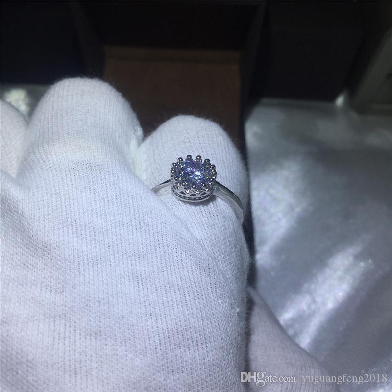 Trendy yüzük kadınlar için 925 Ayar gümüş Nişan düğün band yüzükler Yuvarlak kesim 3ct Temizle 5A zirkon kristal Bijoux