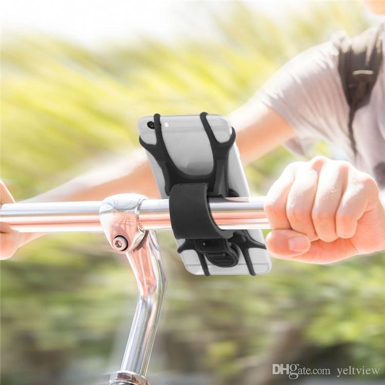 صدمات مستقرة العالمي دراجة حامل الهاتف سيليكون مرنة الفرقة المقود تعديل gps الهاتف قوس حامل دراجة نارية جبل