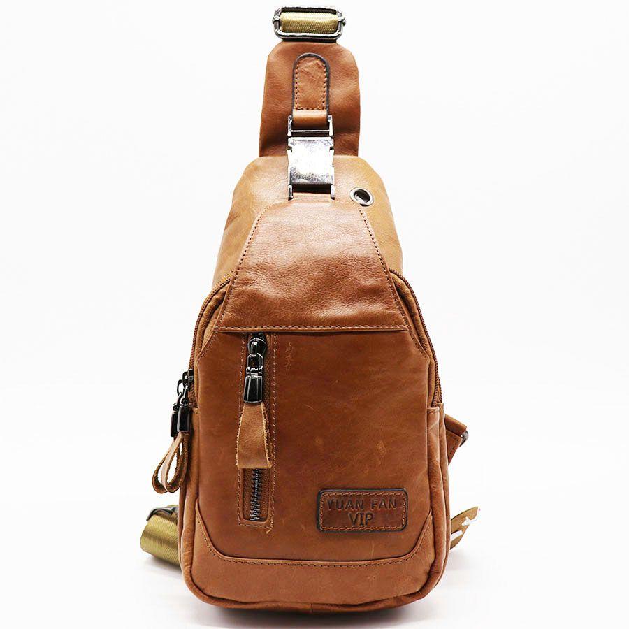 3b37acac88ab2 Großhandel Enuine Leder Casual Sling Bag Herren Brust Pack Crossbody Umhängetasche  Messenger Bags Für Reisen Reißverschluss Style Design Von Peggykiu