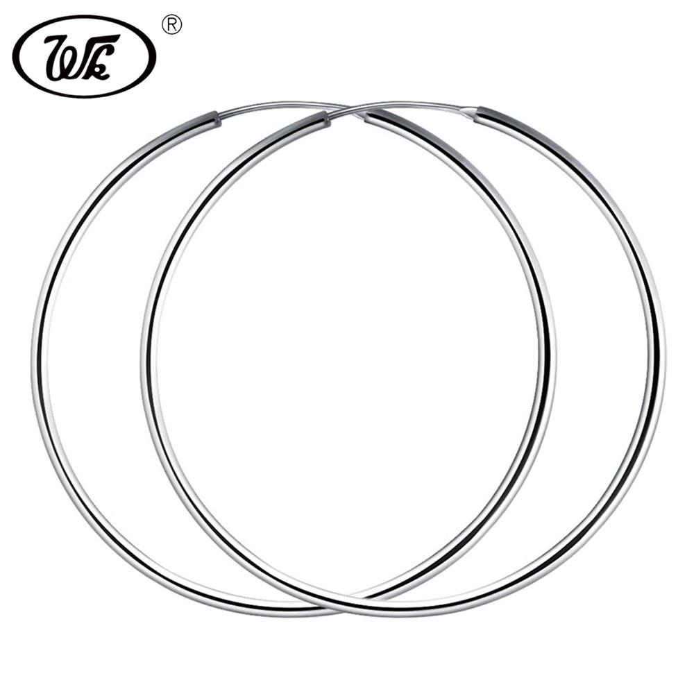 92c9f8117 2019 WK Women Silver Hoop Earrings Large Big Round Circle 925 Silver Hoops  Creole Jewelry 25MM 40MM 50MM 55MM 60MM Dropshipping 2018 From Gunot, ...