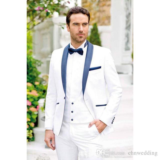 Lacivert ile özel Beyaz Damat Smokin Şal Yaka Erkek Takım Elbise Ceket + Pantolon Sağdıç Adam Düğün Balo Damat Suits