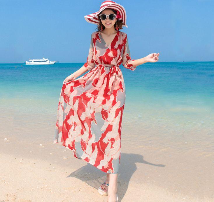 00465bd892 Bohemian Dress Skirt Seaside Resort Beach Skirt Slit Slim Thin Chiffon  Fashion Casual Travel Beach Dress Black Womens Dresses Party And Cocktail  Dresses ...