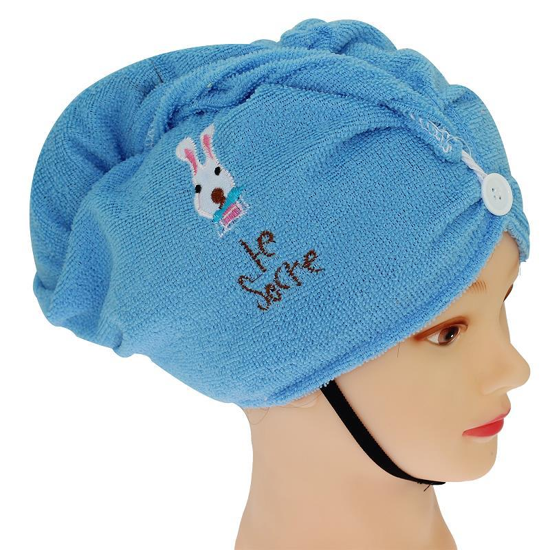 09e08c7759a14 Wholesale- Blue Microfiber Soft Hair Dry Towel Bath Wrap Bathroom ...