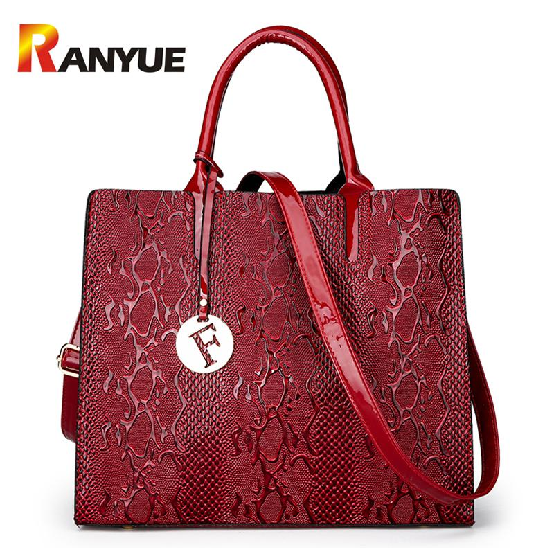 RANYUE Serpentine Women Leather Handbags Luxury Snake Women Shoulder Bag  2018 Spring Ladies Hand Bags Casual Tote Bag Sac A Main Purses For Sale  Leather ... 92df2e4ef2b15
