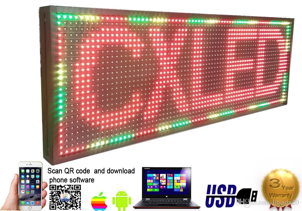 39 x 27 Full Color Video P13 HD LED Sign Programmable Scrolling Message  Display