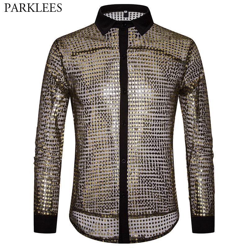 4f3cee2f37 Homens Camisa de Ouro brilhante Transparente 2018 New Sexy Ver Através de  Camisas de Vestido Dos Homens Boate Palco Prom Dance Lantejoula Glitter  Camisa ...