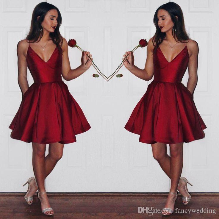 Cheap Burgundy Spaghetti V Neck Short Dresses Ruched Elegant Sexy Evening Dresses Party Short Evening Dress